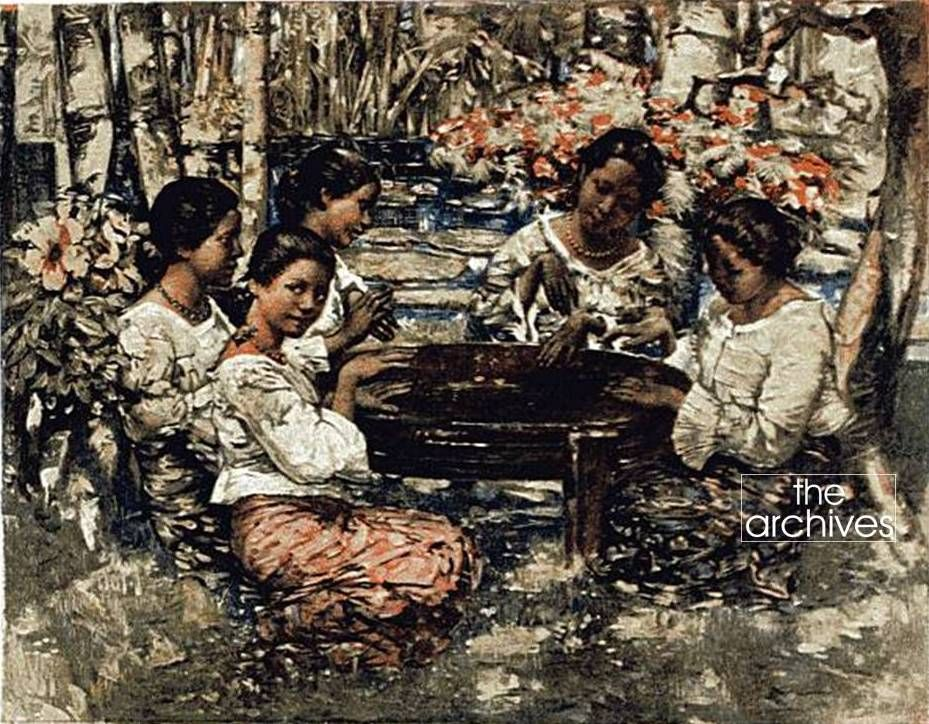 'Ceylon Girls Playing the Tom-Tom' (1916) by E.A. Hornel - from Chapter 18 – 'A Letter From Ceylon' in 'Highroads of Geography, The Royal School Series' - Introductory Book—Round the World with Father published in 1916. The Chapter starts - My dear children, a week ago I landed in the beautiful island of Ceylon. It lies to the south of India. Get mother to show it to you on the globe. Photo Credits - The Corporation of Manchester