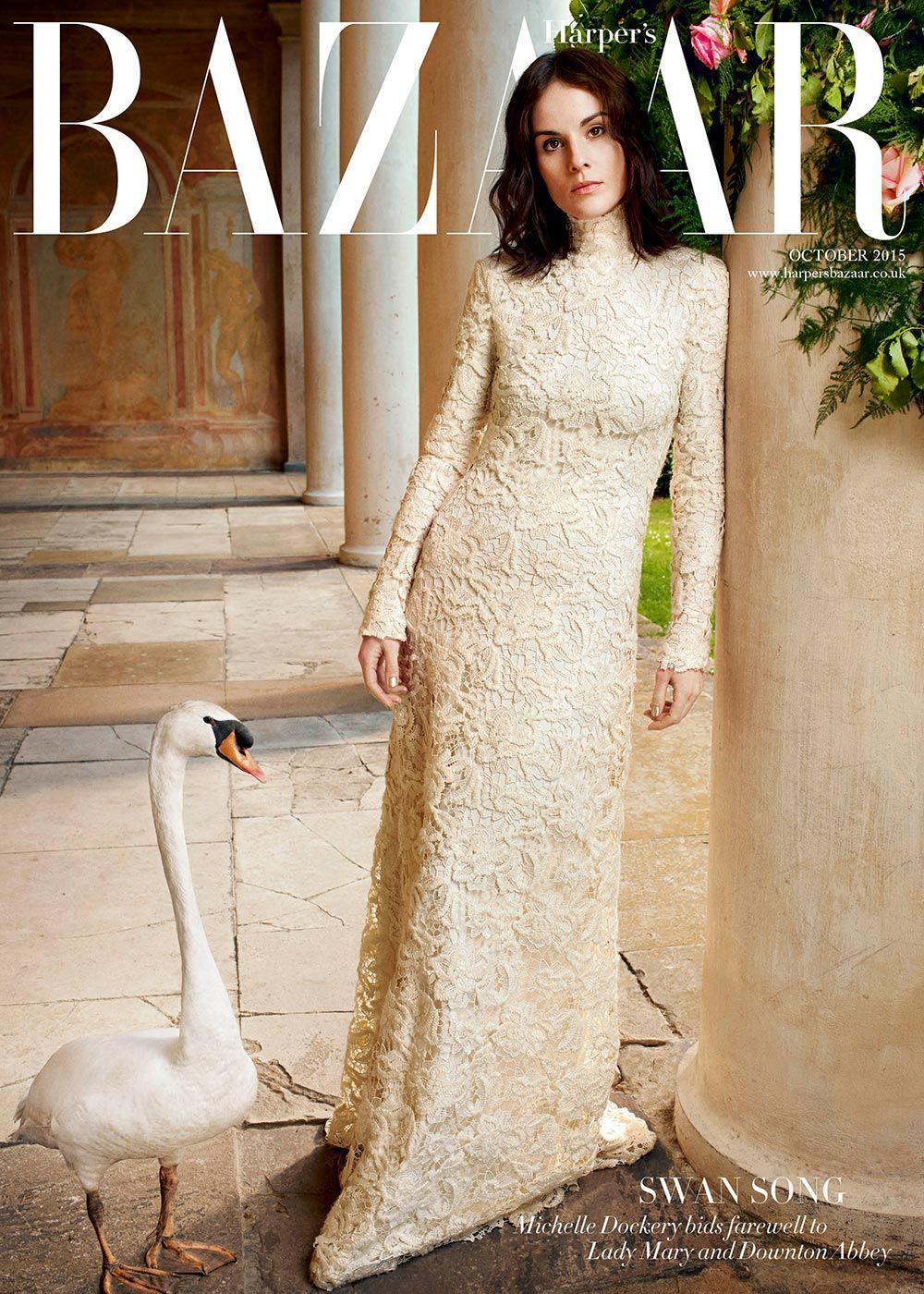Swan Song: Michelle Dockery by David Slijper for Harper's Bazaar UK October 2015 cover