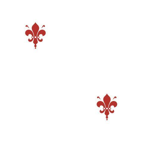Fleur de Lys - Crimson Red Chic Shelf Paper: A simple red fleur de lys design on a white background.