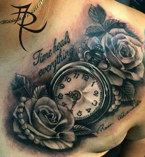 Clock Tattoo, Tattoos, Rose Tattoos For Men