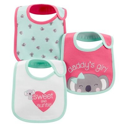 Just One You™Made by Carter's® Newborn Girls' 3 Pack Koala Bib Set - Pink/Turquoise