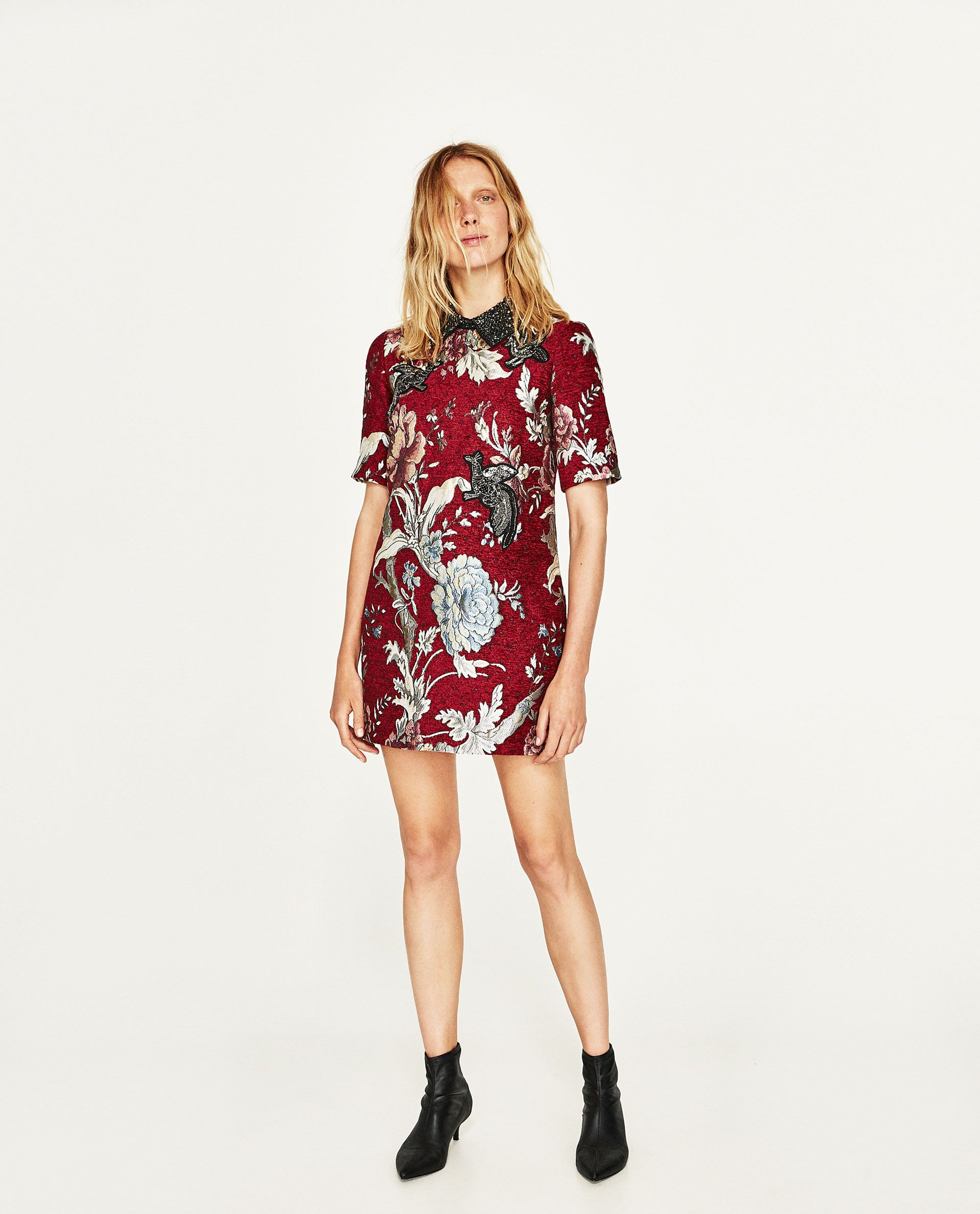 8aae45c4dc49 VESTIDO JACQUARD PARCHES | ZARA FC | Dresses, Jacquard dress e Cheap ...