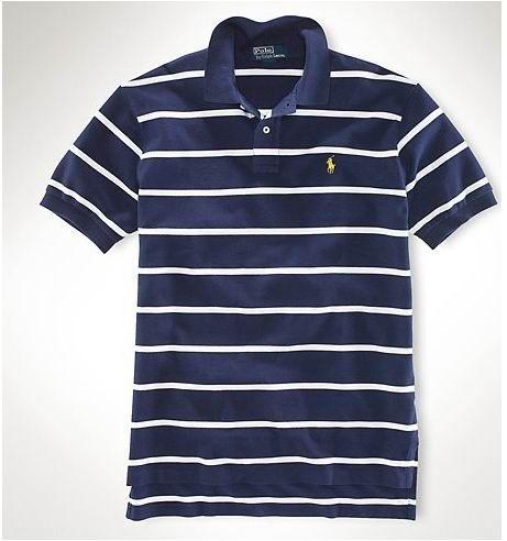 cheap ralph lauren online Ralph Lauren Men's Custom-Fit Striped Short  Sleeve Polo Shirt Navy