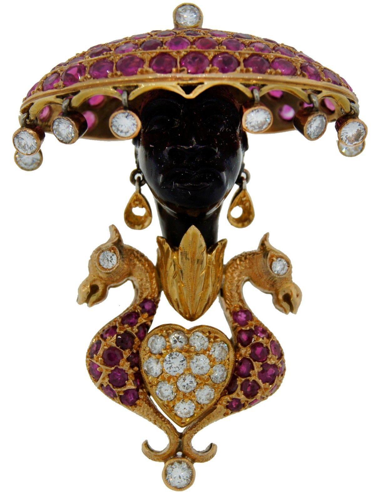 Collectible NARDI c.1950s BLACKAMOOR PIN BROOCH - DIAMOND RUBY ONYX YELLOW GOLD