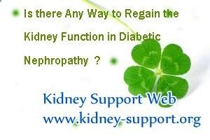 Is there any way to regain the kidney function in Diabetic Nephropathy ? As we all know, once the diabetes developed into diabetic nephropathy, the kidney function will goes down gradually, and that will induce a series of bad reactions. In order to avoid this disease fall into vicious circle, we need to find some ways to improve the kidney function.