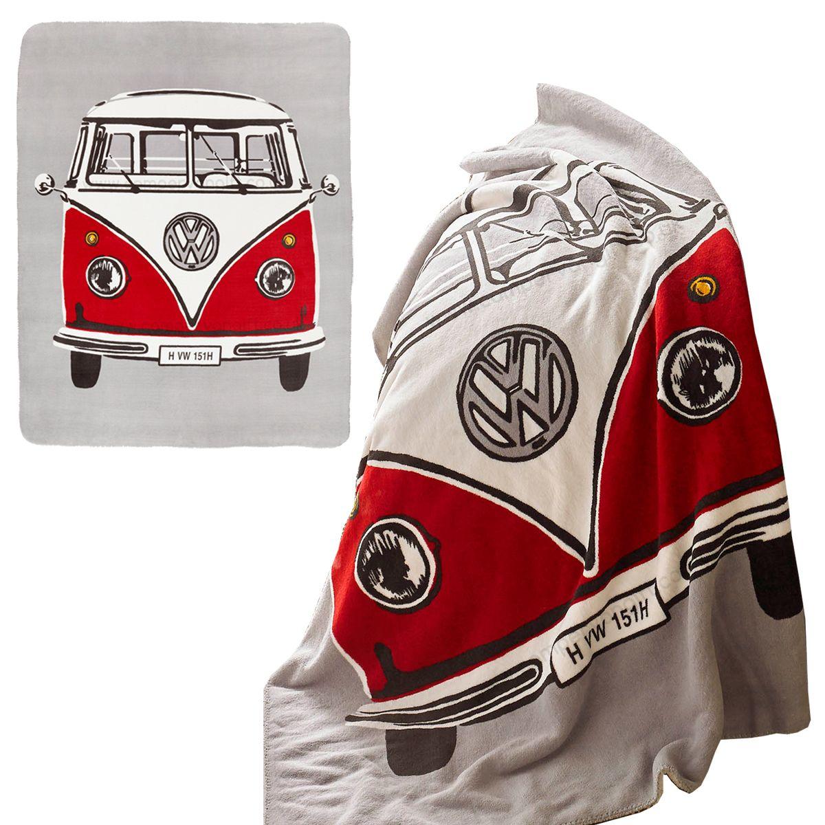 Black Fleece Blanket Embroidered Vw Style Logo Choose Colour Of Logo Campervan