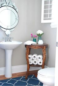 Make Use Of The Corners In A Powder Room This Beautiful Wooden Stool Doubles Up As A Storage Containe Bathroom Table Small Bathroom Table Powder Room Storage