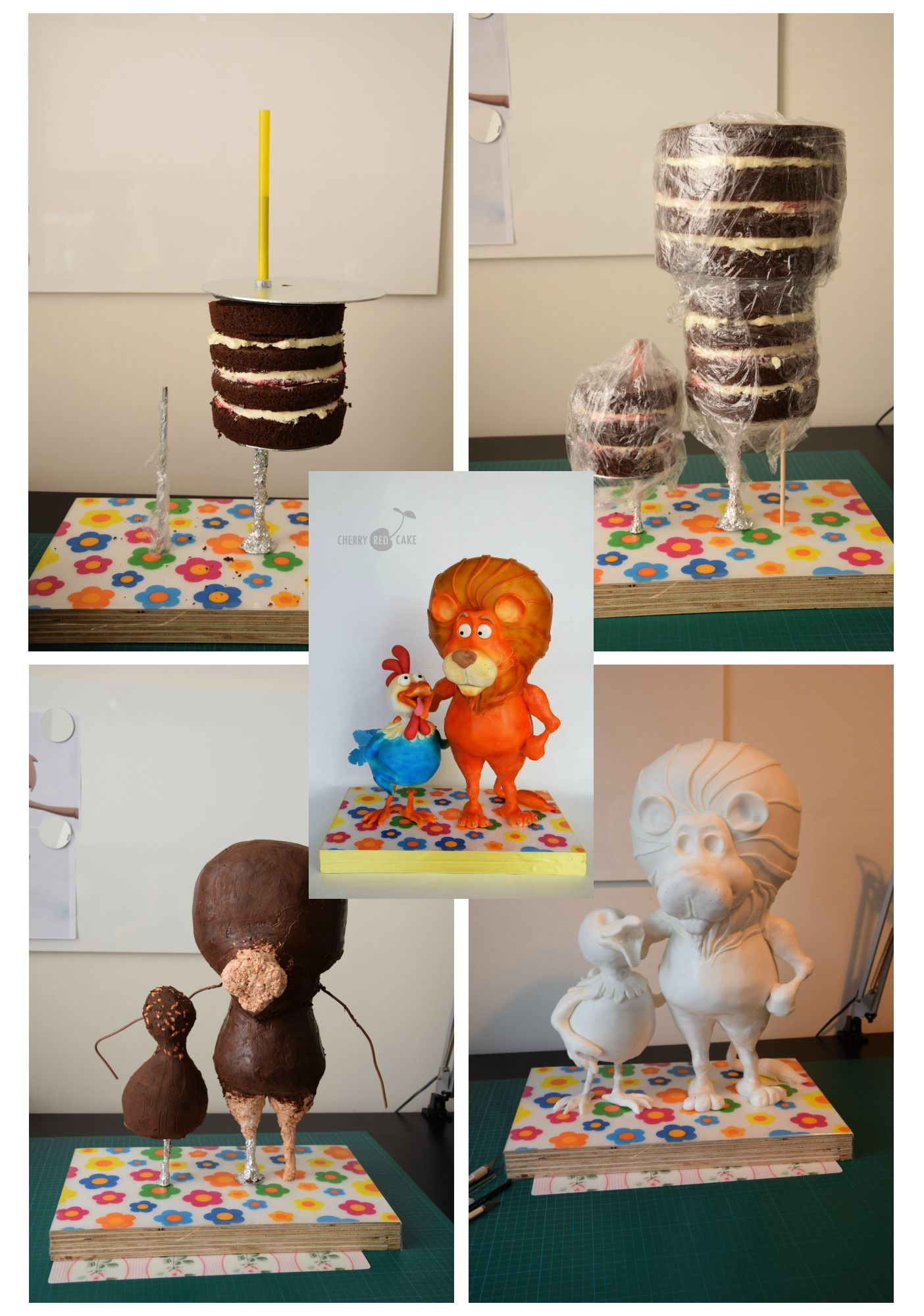 5 Tutorials For Defying Gravity: Work In Progress- How I've Made Lion & Rooster Cake