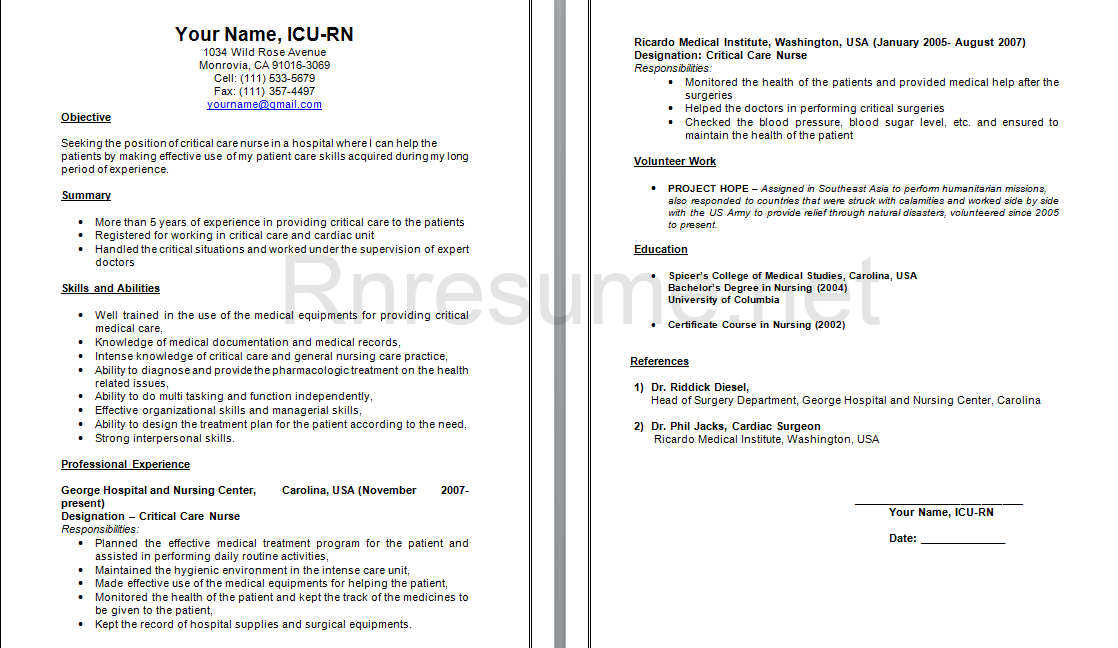 Icu Rn Resume Sample HttpWwwRnresumeNetCheckOurRnResume