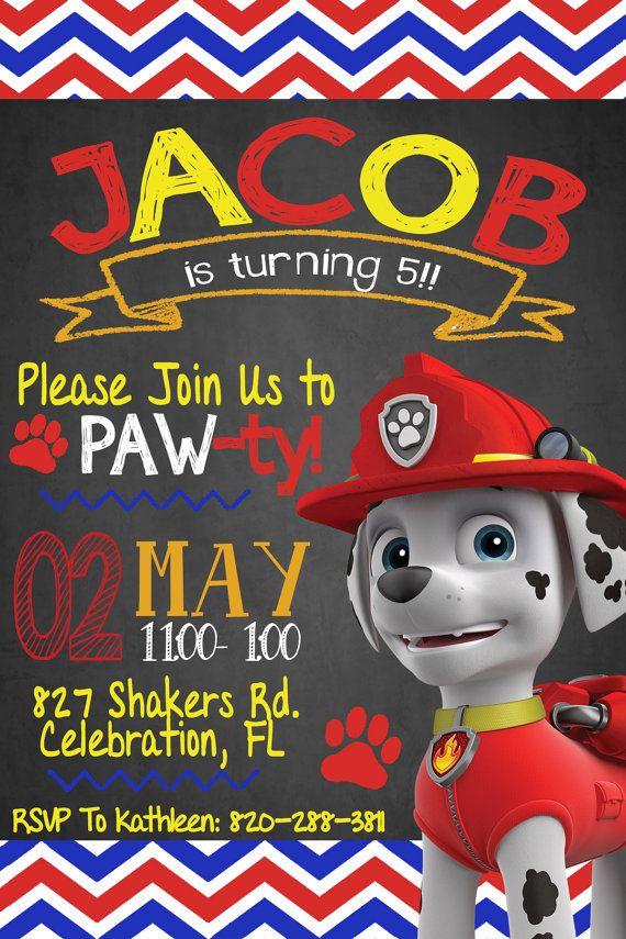 Paw Patrol Invitation Marshall Party Birthday