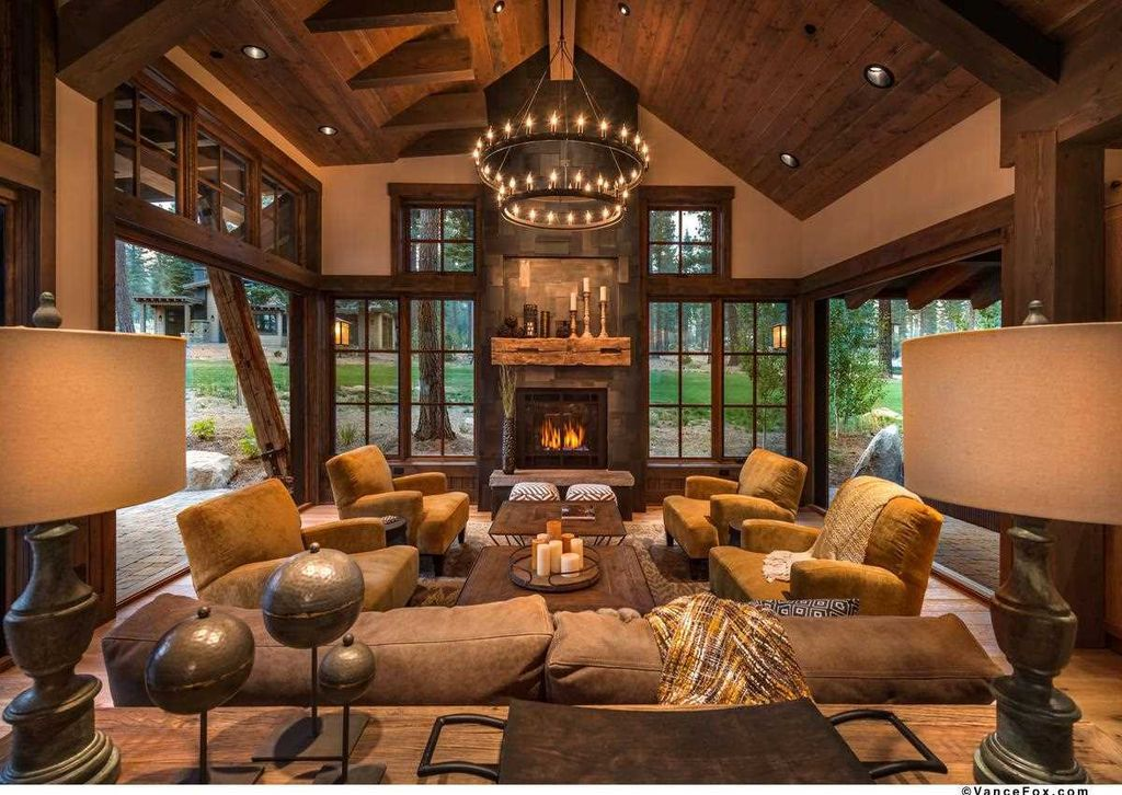 rustic living room with metal fireplace cathedral ceiling on modern cozy mountain home design ideas id=41047
