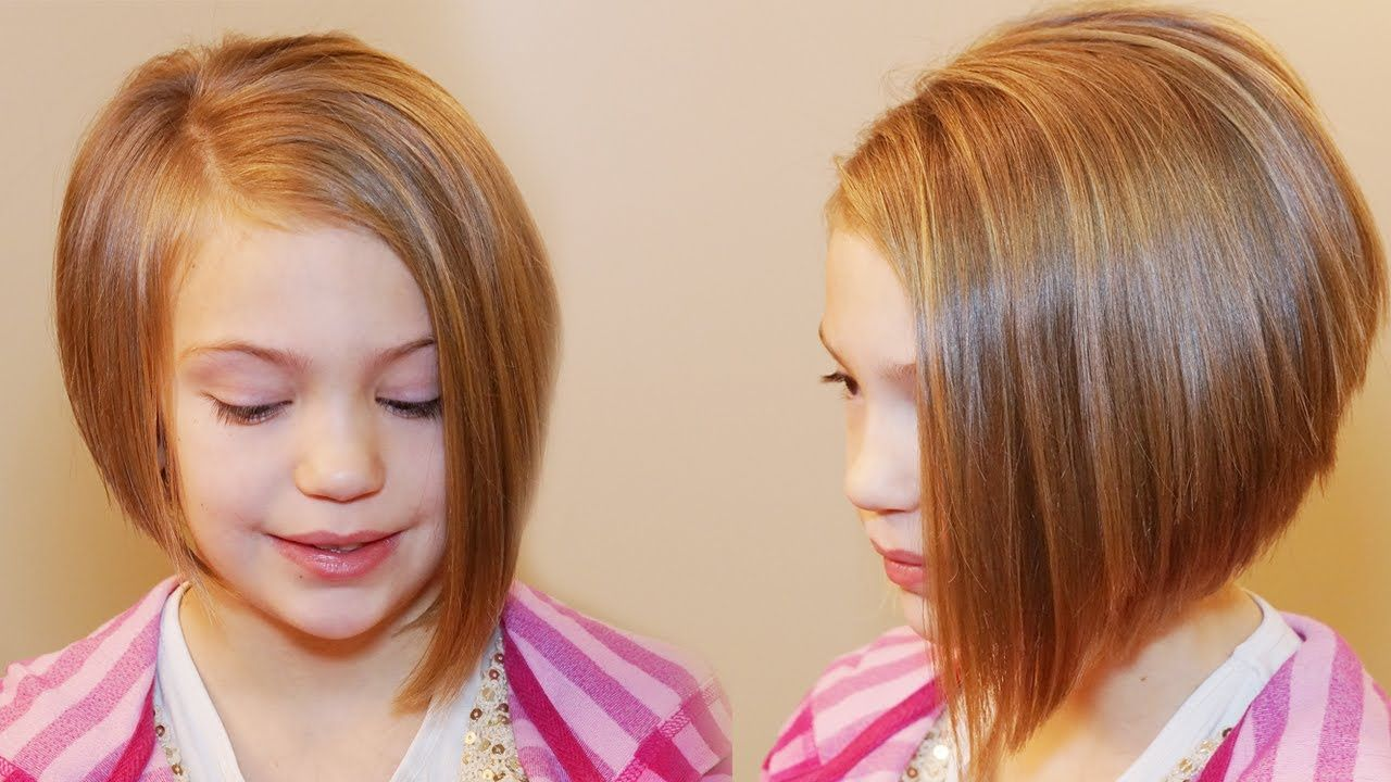 How To Cut An Asymmetrical A Line Girls Hair Tutorial Beauty