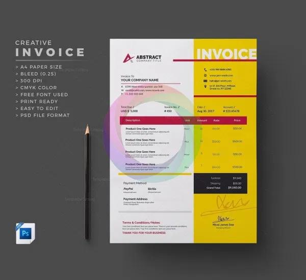 Print Ready Invoice Template Graphic Mega Graphic Templates Store Invoice Template Invoice Design Templates