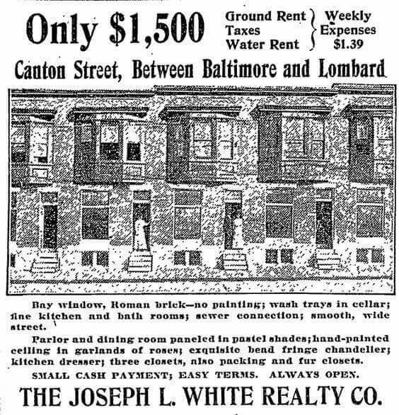 Ad For New Houses Canton St Now Ellwood C 1909 The Exterior Of These Rowhouses Looks Very Similar Still Bit The Baltimore Historic Baltimore Baltimore City