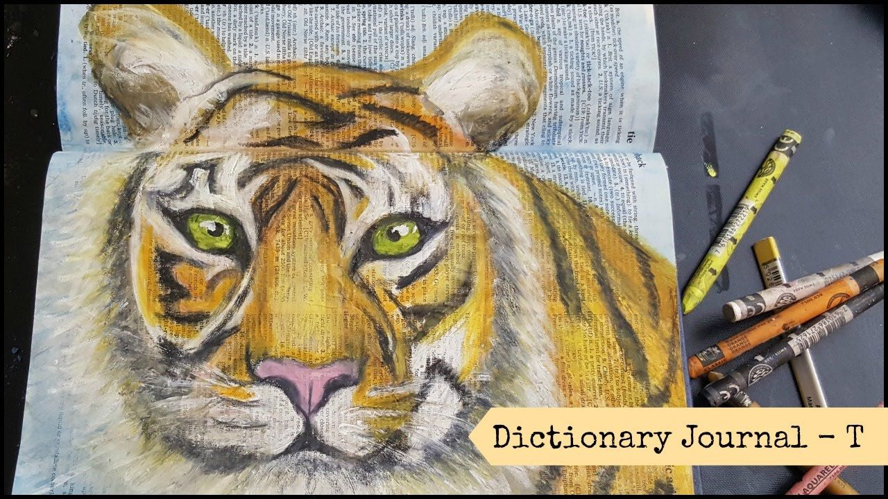 Dictionary Mixed Media Art Journal Page - Tiger