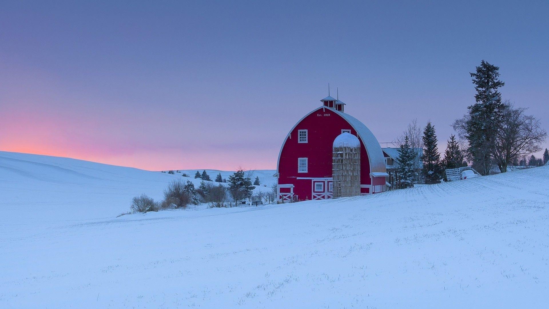 Red Barn Silo Winter Sunset Season Washington Region Art