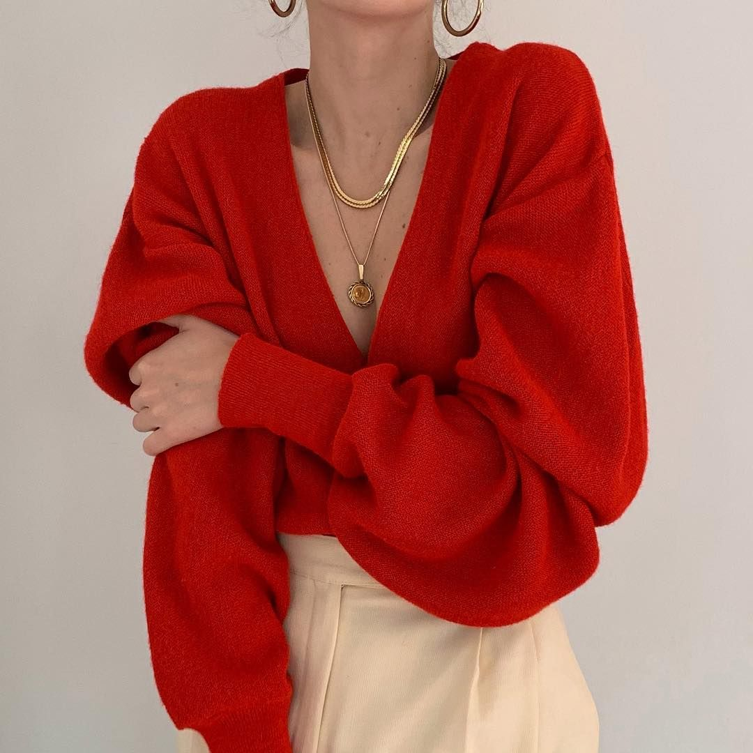 "Deux Birds Vintage on Instagram: ""Favorite vintage poppy red oversized knit cardigan. The loveliest color and draped fit. Online now. ???? (Sold)"" #adidasclothes"