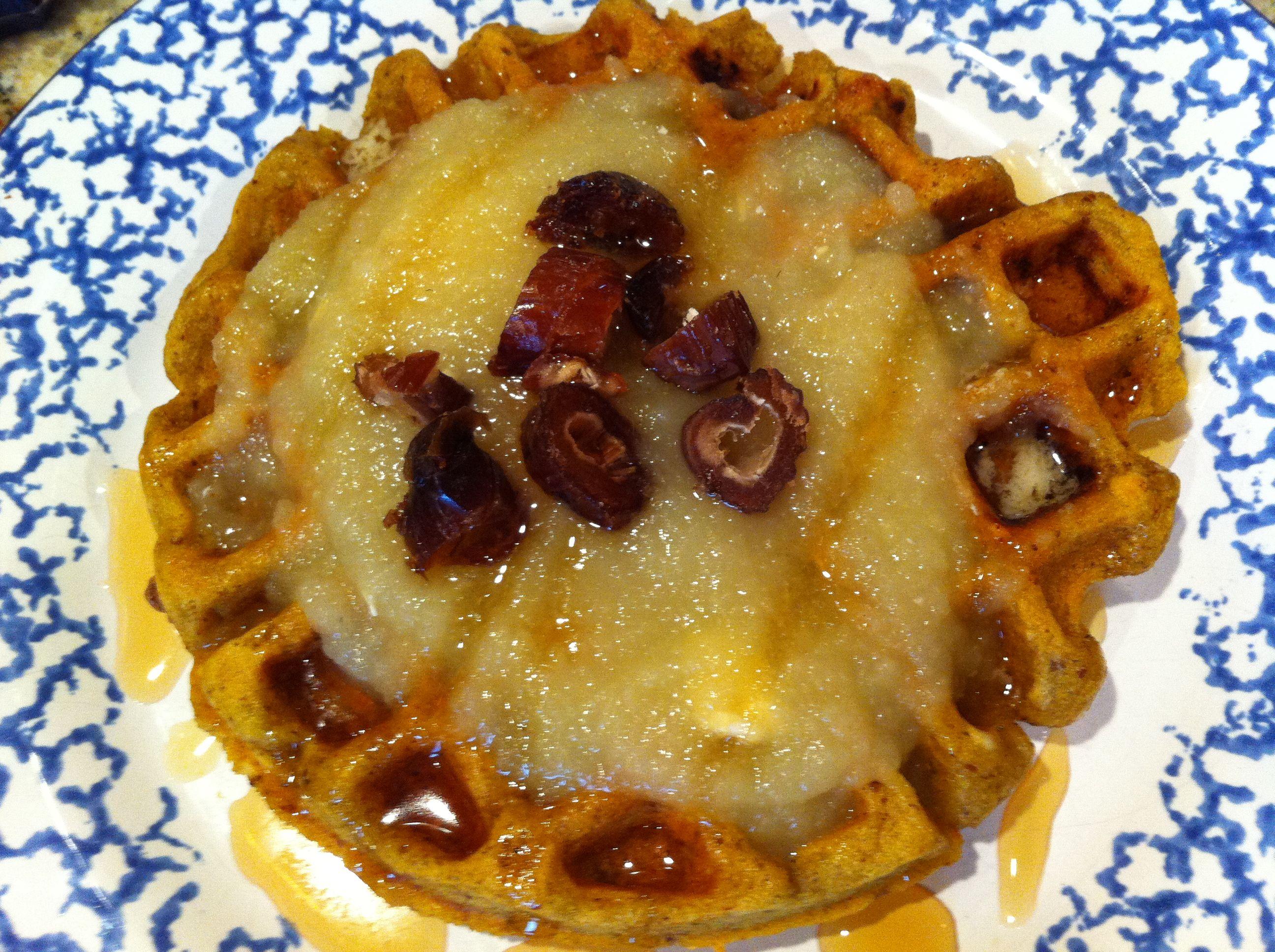 Breakfast: pumpkin flaxseed waffles with unsweetened ...