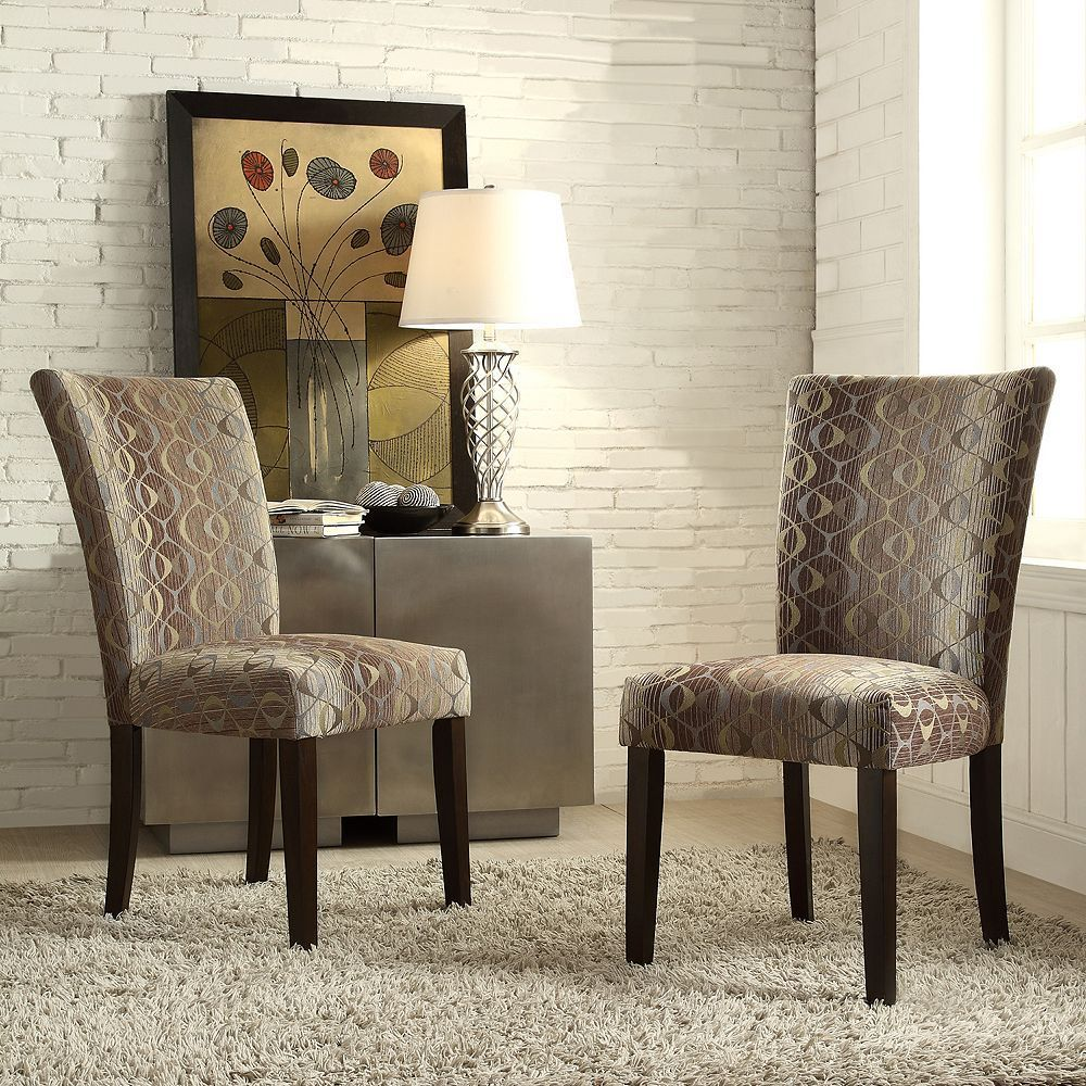 Homevance Denargo Printed Side Chair 2 Piece Set Brown