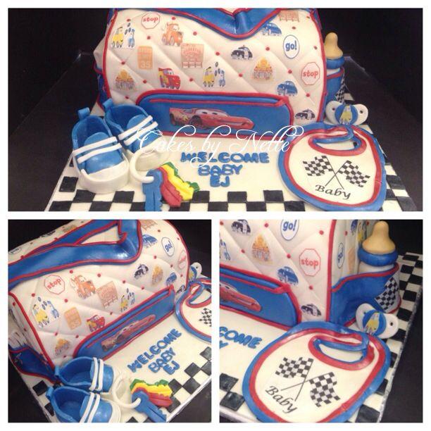 Disney Cars Diaper Bag Baby Shower Cake Instagram CakesByNetteStl Facebook Cakes By