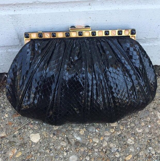 Judith Leiber snakeskin clutch $348