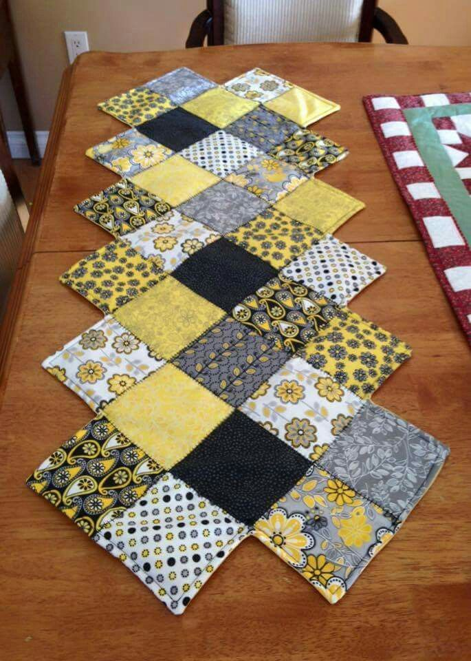 Table Runner Black Grey White Yellow Patchwork Table