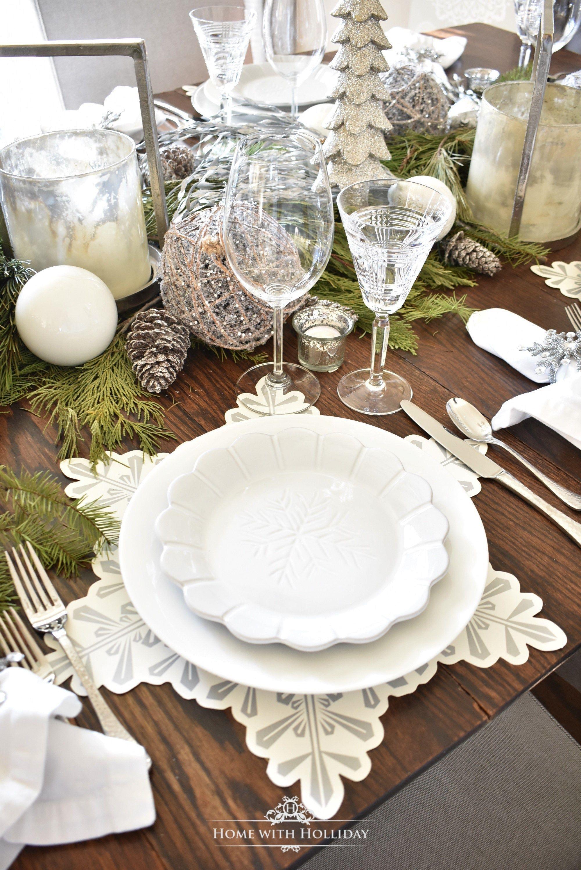 winter white snowflake christmas table