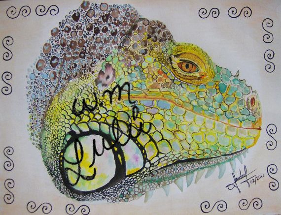 Iguana Painting Original Water Color Animal Reptil By Lulamier
