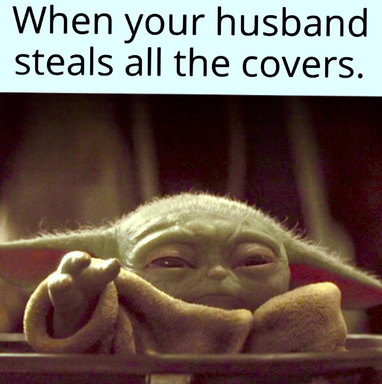 Baby Yoda Hubby Steals Covers Yoda Funny Laughing Baby Yoda Meme