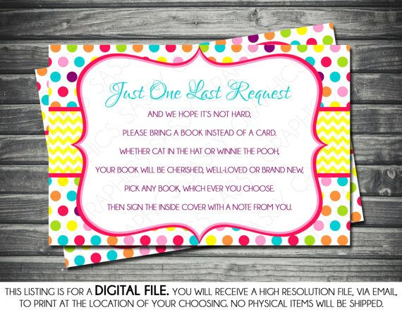 Girls Baby Shower Bring a Book Insert Card by SassyGraphicsDesigns, $5.00