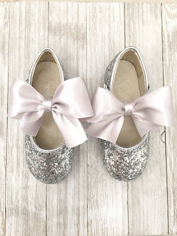 80bd48575d75 SILVER Rock Glitter INFANT Girl Shoes   WALKER Girl Shoes With Satin Bow…