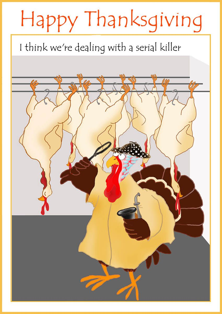 Thanksgiving Card With Turkey Detective Beautiful Or Funny