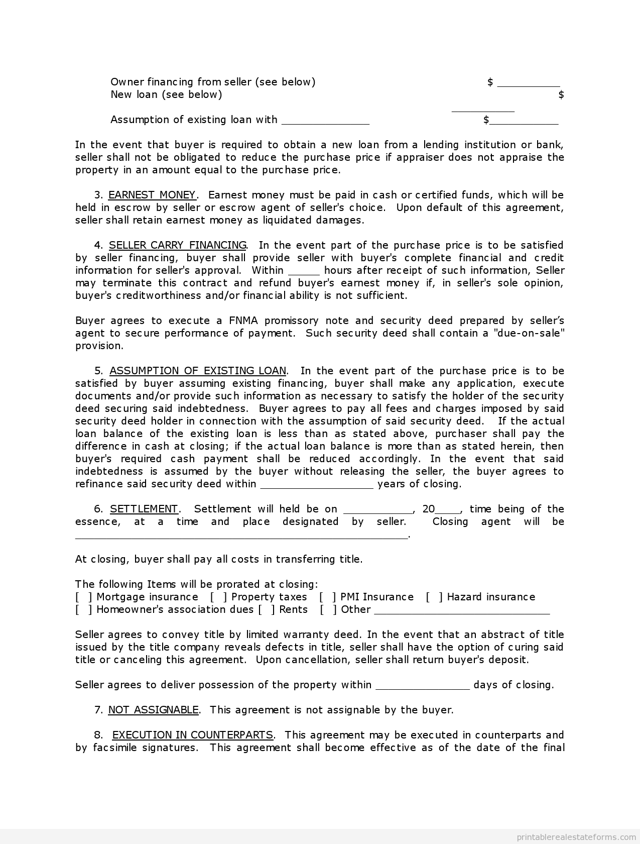 Printable Contract To Sell On Land Contract Template   Sample