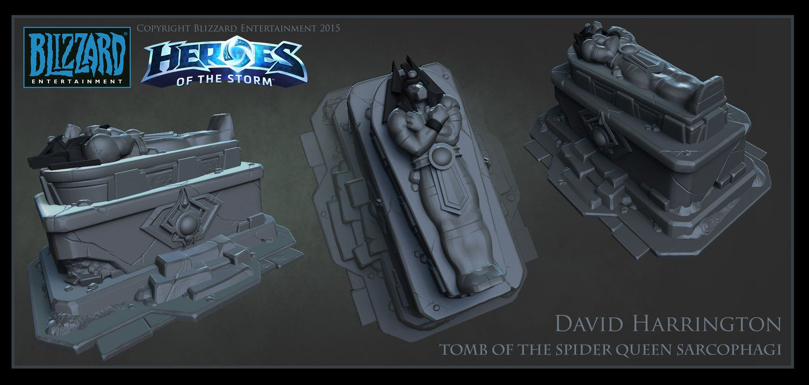Heroes Of The Storm - Tomb Of The Spider Queen Sarcophagi, David Harrington on ArtStation at https://www.artstation.com/artwork/heroes-of-the-storm-tomb-of-the-spider-queen-sarcophagi