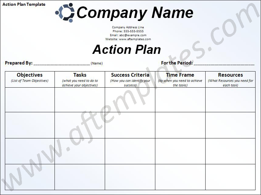 Free Business Action Plan Template Action Plan Template – Example of Action Plan