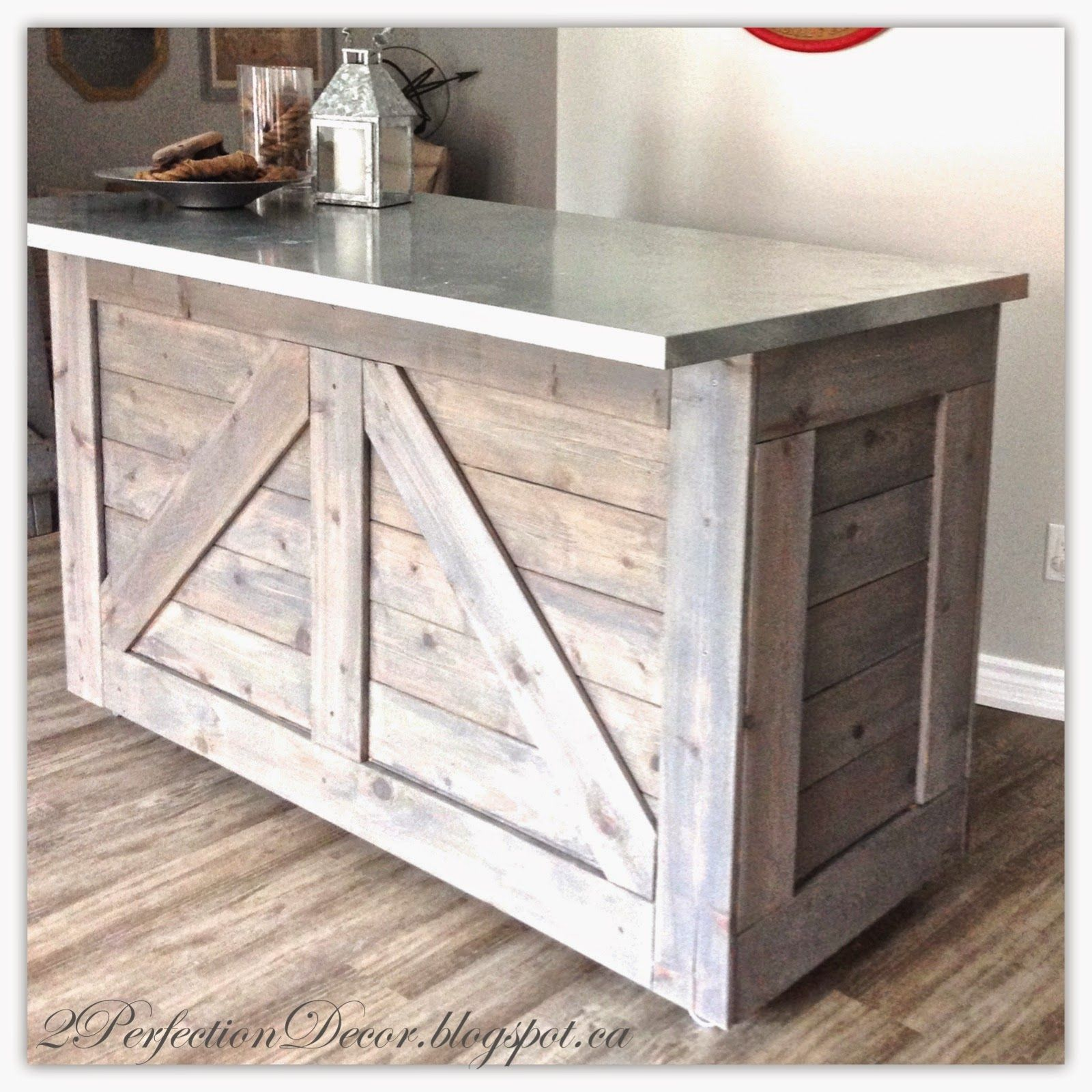 Ikea hack rustic bar with galvanized metal top for Diy outdoor bar top