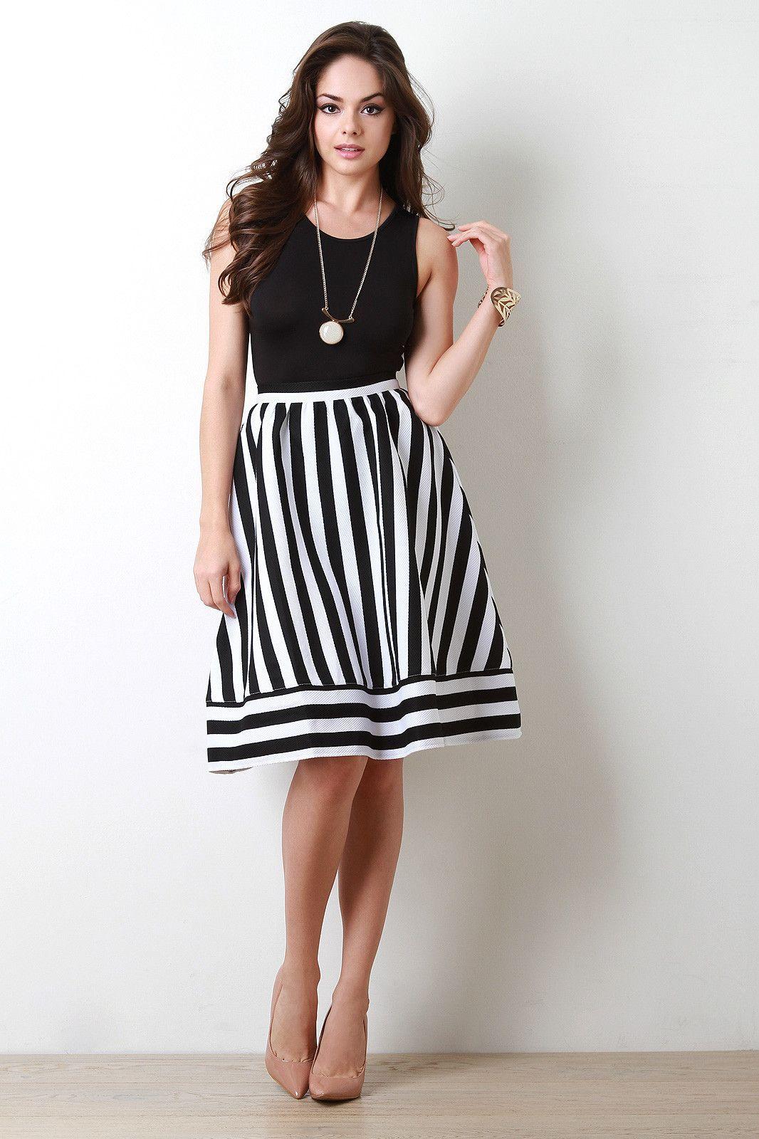 Striped High Waist A Line Skirt