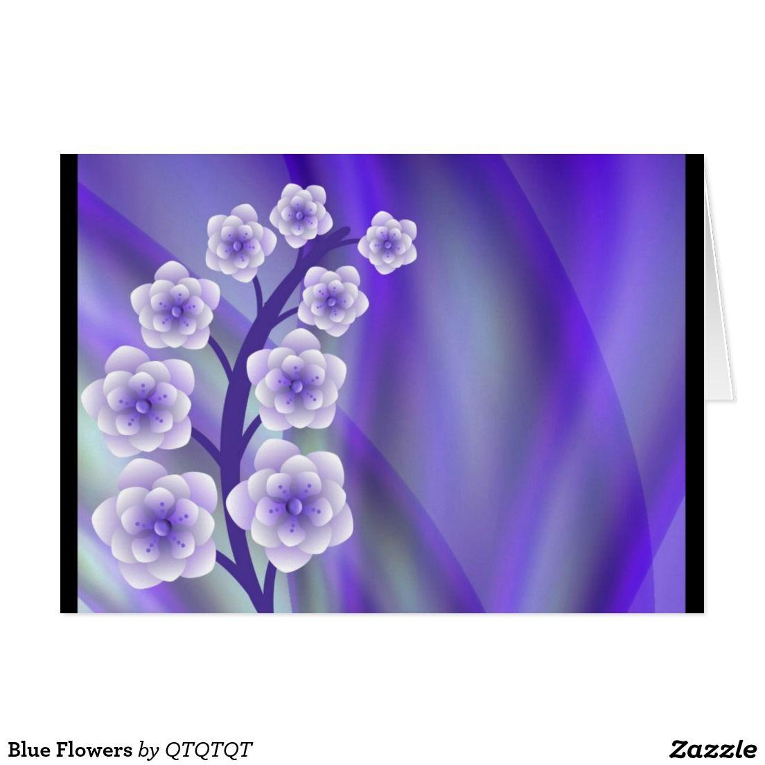Blue Flowers Card Flower Cards