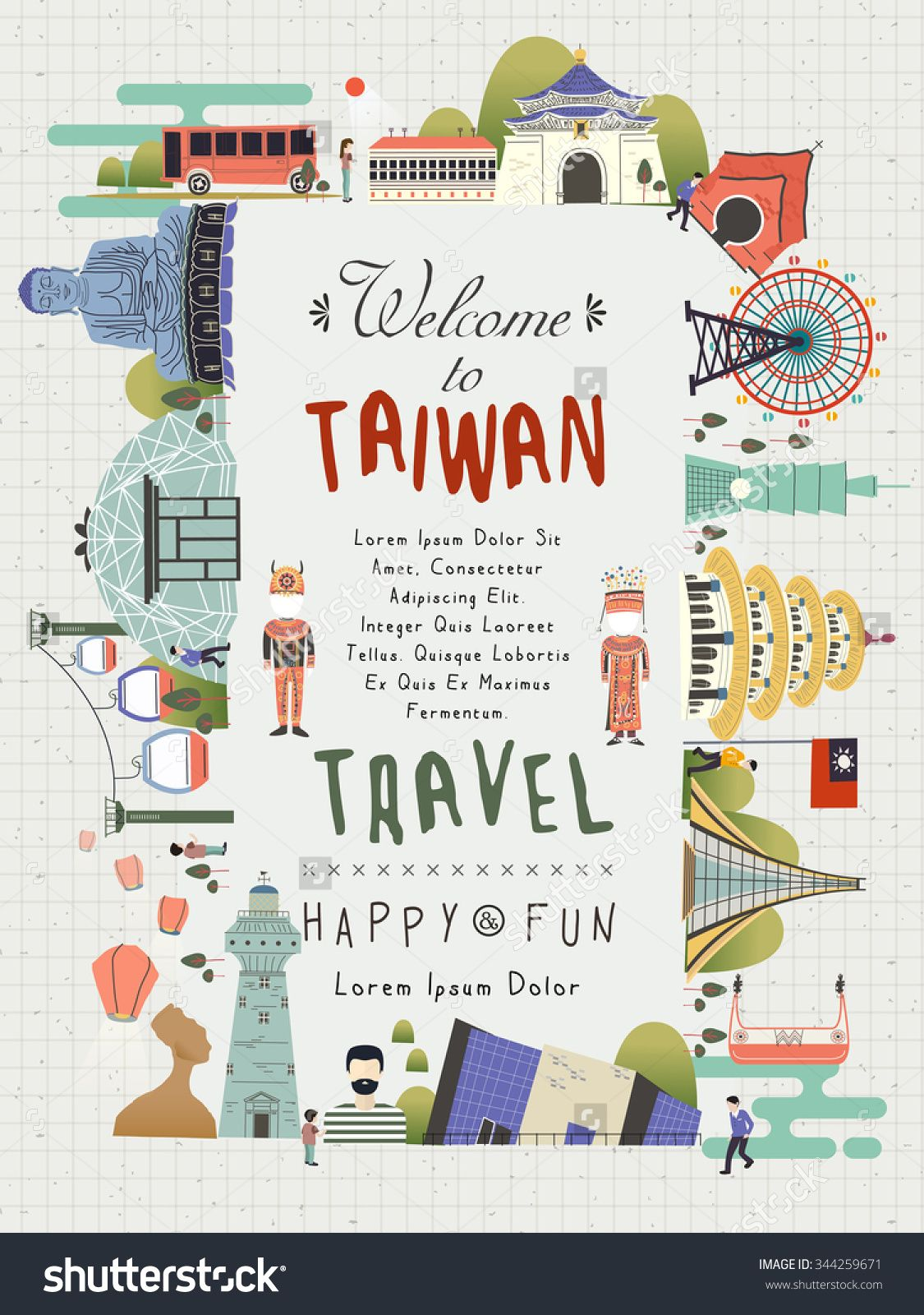 Korean poster design - Lovely Taiwan Travel Poster Design With Famous Attractions Stock Vector Illustration 344259671 Shutterstock