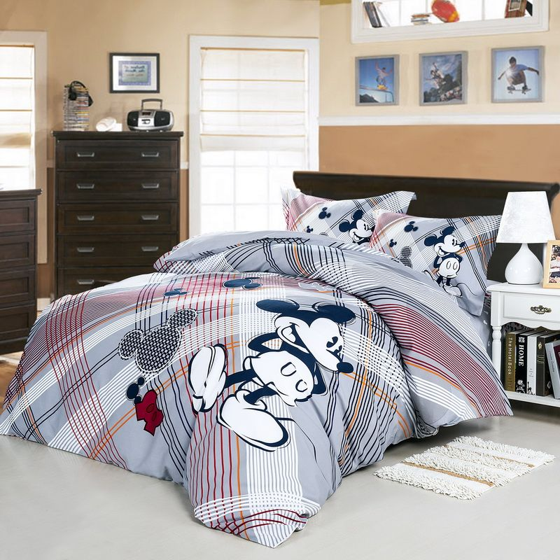 Love Mickey Mouse Gray Disney Bedding Set Room