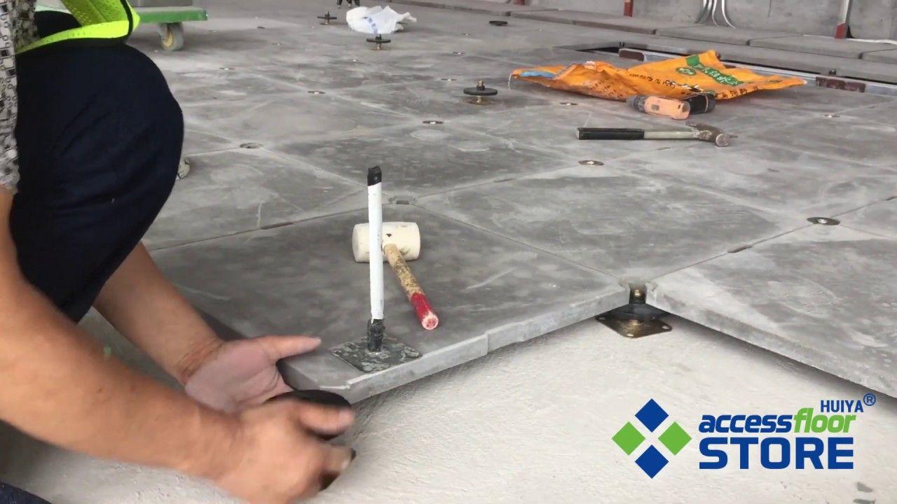 Grc Cement Raised Floor Installation Raised Access Flooring Systems Floor Installation Flooring Installation
