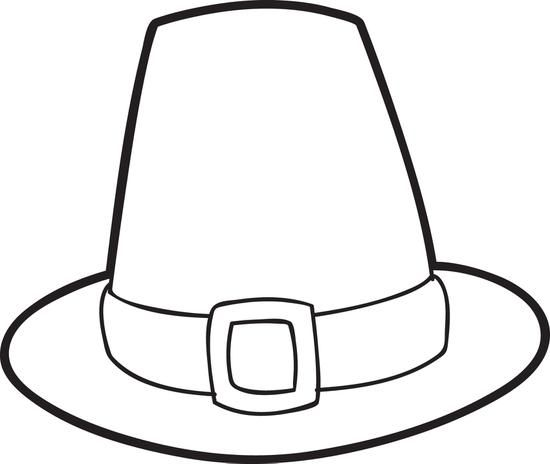 Printable Pilgrim Hat Coloring Page For Kids Thanksgiving