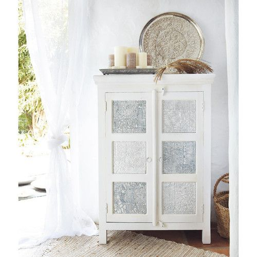 armoire blanche et argent e maisons du monde exotique. Black Bedroom Furniture Sets. Home Design Ideas