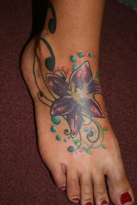 Colorful foot tattoo ... hibiscus flower