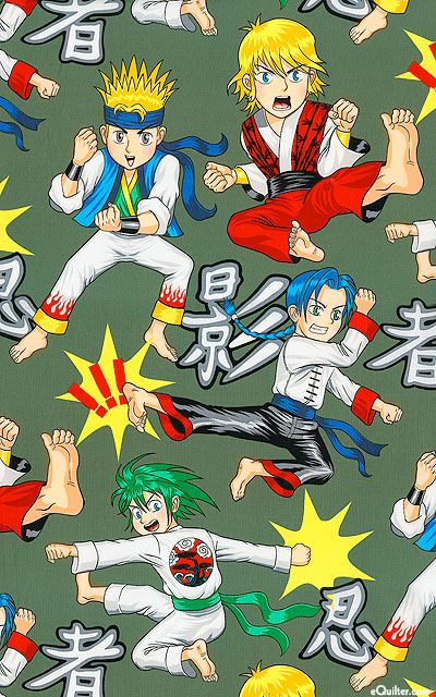 Fabric~Your kids will love anything constructed with this vivid large scale animated print depicting energetic anime-style kids performing martial arts maneuvers. They leap, kick and punch their way through a backdrop of Japanese script, with trendy karate uniforms characteristic of anime illustrations