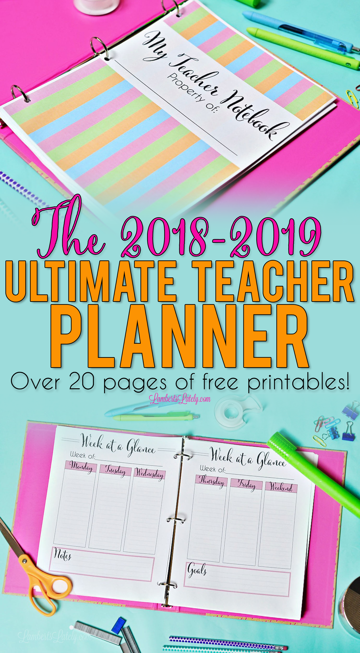 graphic relating to Free Printable Teacher Planner identify The 2019 - 2020 Greatest Trainer Planner - Totally free Printables