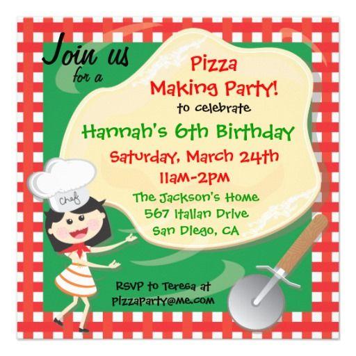 pizza making birthday party invitation card kids 2 12 birthday