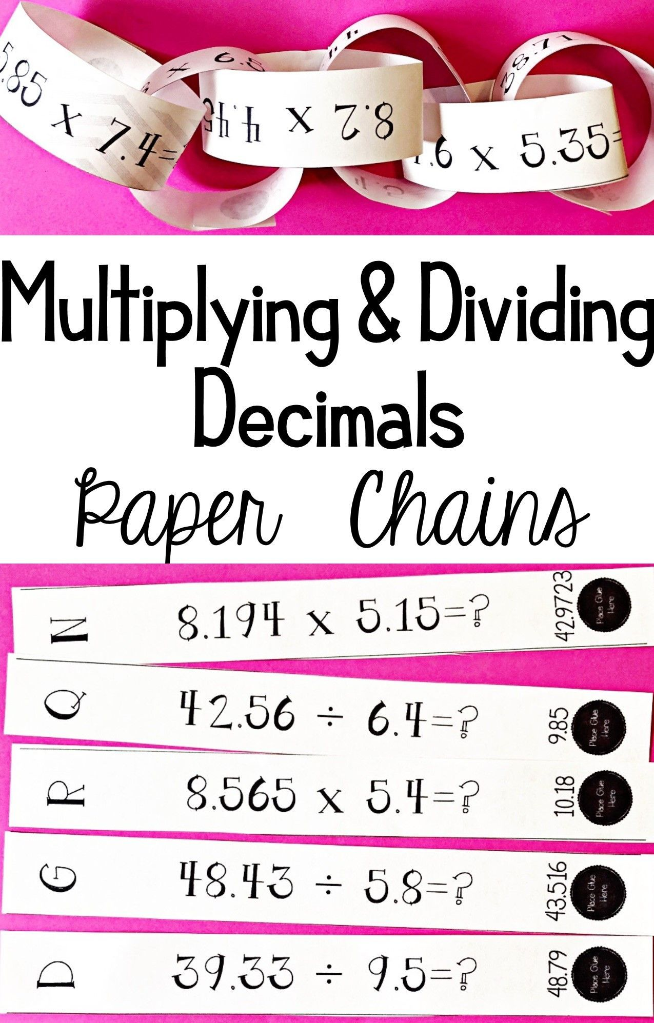 Multiplying & Dividing Decimals - Chain Activity | 6th Grade Math ...