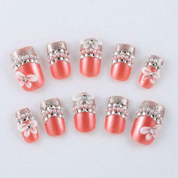 Japanese 3D Nail Art Press On Nails Fake Nails by tanacollection ...