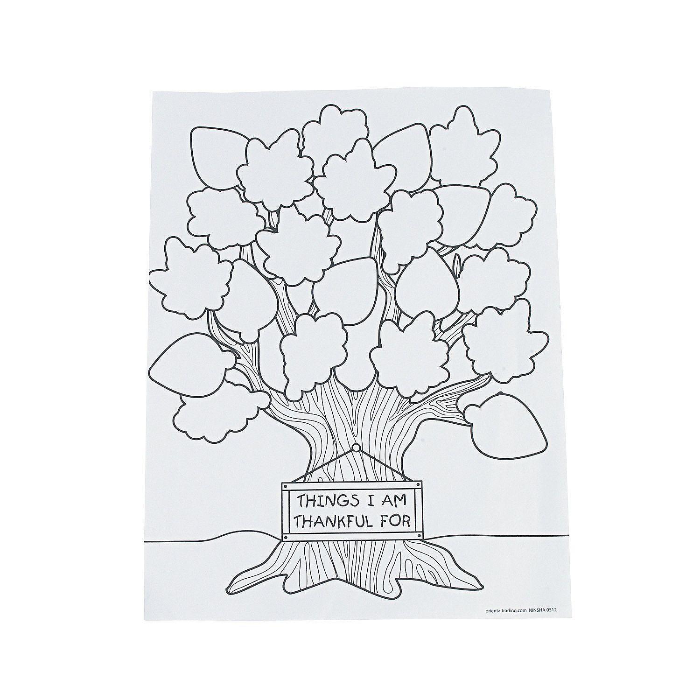Tree Of Thanks Coloring Sheets 50 Pcs Per Unit 8 1 2 X 11